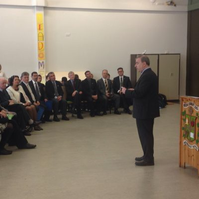 Mr Pat O'Leary welcomes our visitors