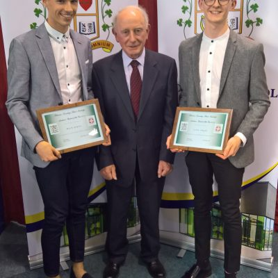Academic Student of the Year Award winners Mark Glynn & Colin Smyth with Br Cormac Commins