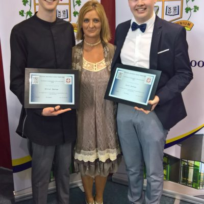 Arts & Culture Award winners Elliot Nolan & Kyle Dunne with Ms Loughran