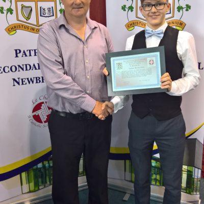 Business Award winner Adam McInerney with Mr Gill
