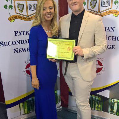 Creative Writing Award winner Brian Cummins with Ms Stack