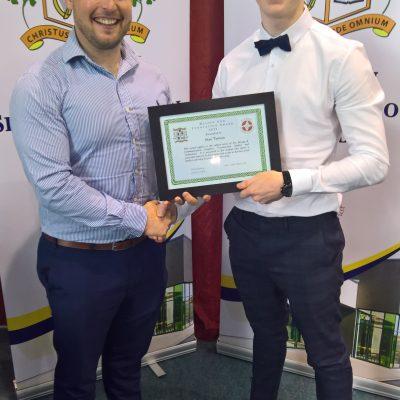 Design & Innovation Award winner Sean Tiernan with Mr Lyster