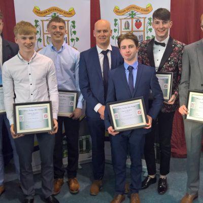 Full Attendance Award winners Conor Fitzharris, Cian Buckley, Billy Campbell, Adam Flood, Cian Dowling & Andrew Ryan with Mr Cunnane
