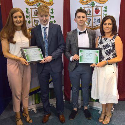 Gaelic Award winners Eoghan Conaty & Sean Coffey with Ms Woods & Ms Collins