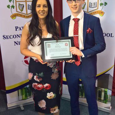 Geography Award winner Ciaran Fagan with Ms Clarke
