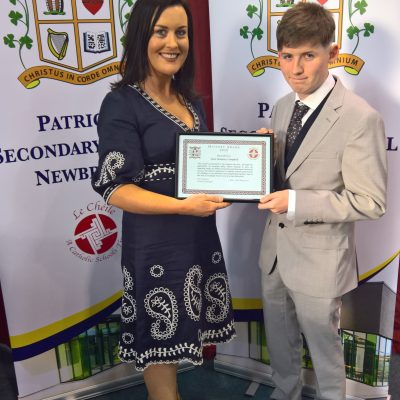 History Award winner Sean Dempsey-Campbell with Ms Healy