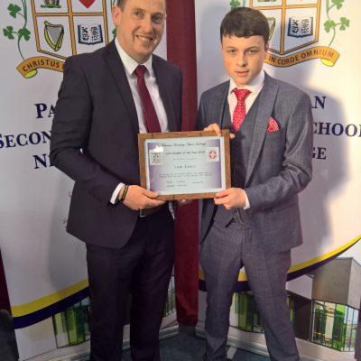 LCA Award winner Sam Ennis with Mr Scallan