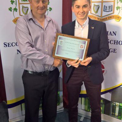 LCVP Award winner Mark Walsh with Mr Gill