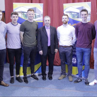 Past Sportsperson of the Year winners (L-R): Seamus Hanafin (2008), James Murray (2011), Ronan Fitzgibbon (2012), Gary Shaw (2010), Donal Dempsey (2013), Con Kavanagh (2015), Darragh McHugh (2014) & Mark Dempsey (2015) with Mr O'Leary to honour his retirement.