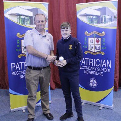 1st Year Gaelic winner Ryan Behan O'Shea with Mr Gill