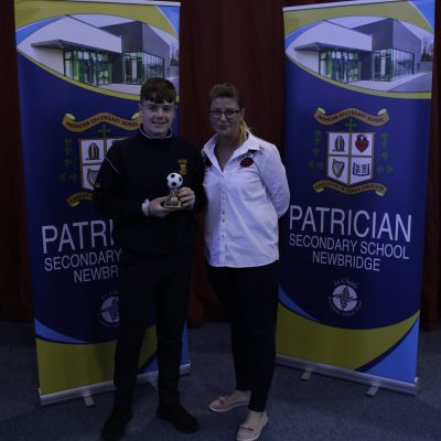 1st Year Soccer winner Ryan Behan O'Shea with Ms McBride