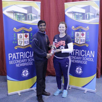 1st Year Badminton winner Nibu Rajan with Ms Fitzgerald