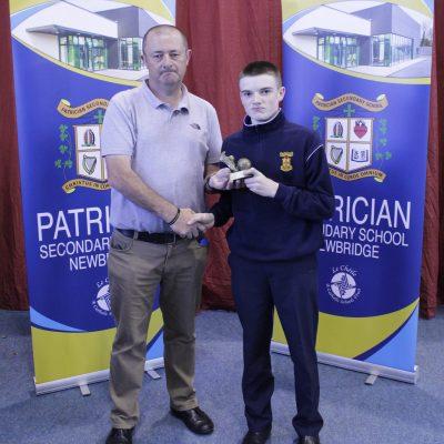 U14 Gaelic winner Michael Troy with Mr Gill