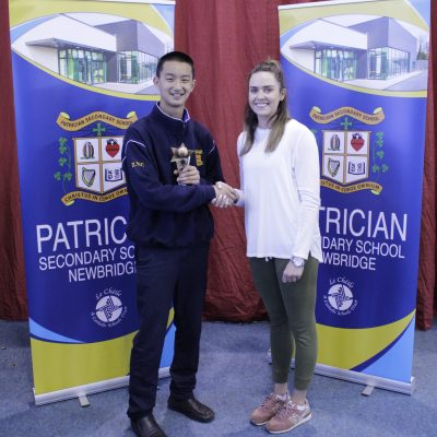 2nd Year Basketball winner Paddy Zhuang with Ms Leane