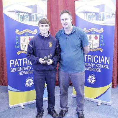 U15 Soccer winner Joey Commane with Mr Tuite
