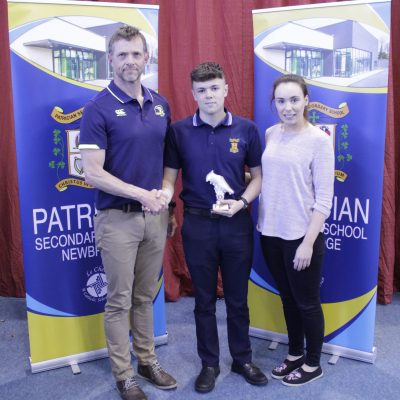 Junior Rugby winner Kyle Cullen with Neil Taylor & Ms Langton