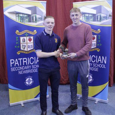 U16 Gaelic winner Muiris Curtin with Mr Reddy