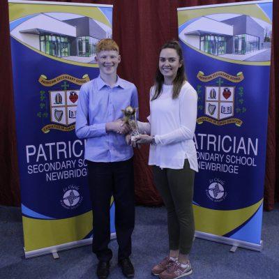 U16 Basketball winner Kevin Crowley with Ms Leane