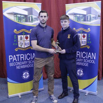 U17 Soccer winner Evan O'Callaghan with Mr O'Regan