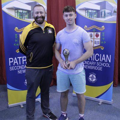Senior Soccer winner Jamie Meenan with Mr Moriarty