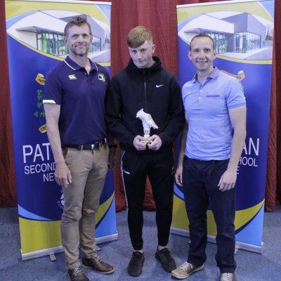 Senior Rugby winner Adam Meehan with Mr Burke