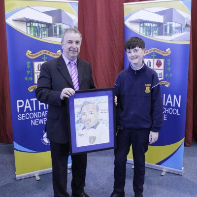 Ross McHale presented Mr O'Leary with his sketch