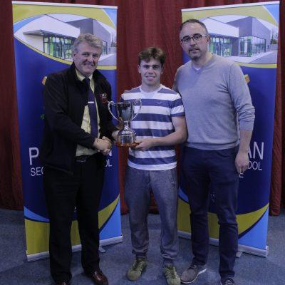 Jamie Donohoe Perpetual Memorial Cup winner JB Murphy with Ian McLoughlin (EMS Copiers) & Mr Whelan
