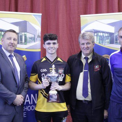 Sports Leadership winner Callum Sourke with Cian O'Neill, Ian McLoughlin (EMS Copiers) & Mr McCool