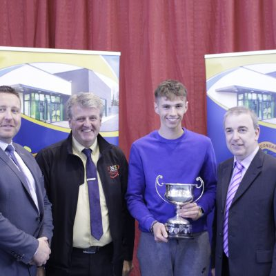 Senior Sportsperson of the Year Mark Glynn with Cian O'Neill, Ian McLoughlin (EMS Copiers) & Mr O'Leary