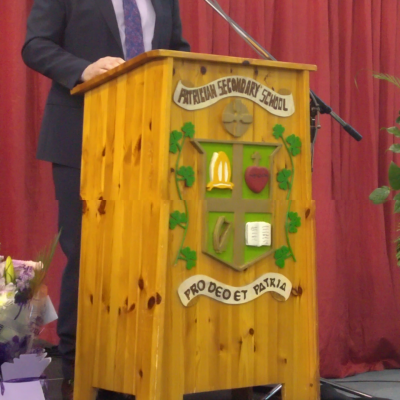 Mr O'Leary addresses the crowd on his retirement after 37 years service