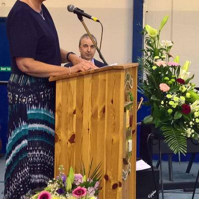 Ms Karen McCormack addresses the crowd on her retirement after 36 years service