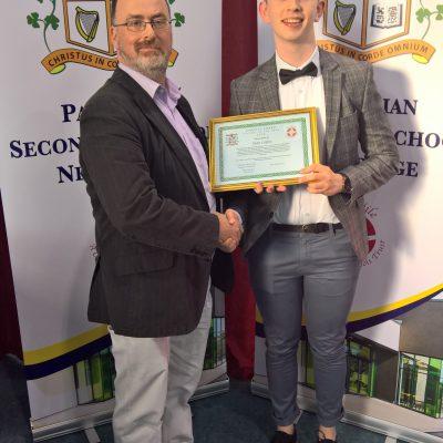 Parents Association Award winner Sean Coffey with Mr Ciaran O'Driscoll