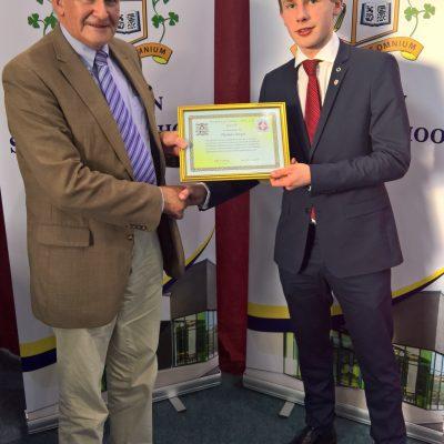 Pastoral Award winner Thomas Keyes with Mr Seamus Mullooly