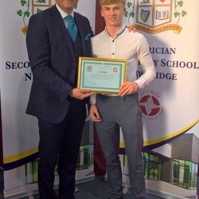 Patrician Award winner Cian Buckley with Mr Whelan