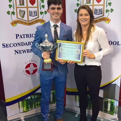 Sports Leadership Award winner Calum Sourke with Ms Sherlock