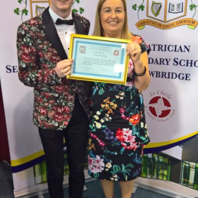 Student Council Award winner Cian Dowling with Ms Martin