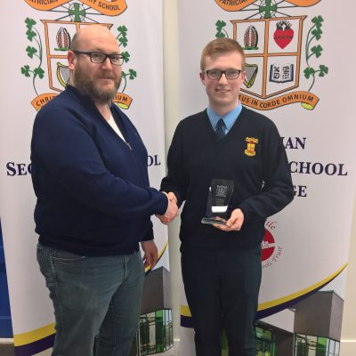 Parents' Association award winner Sean Murphy (3B) with Peter Gosnell
