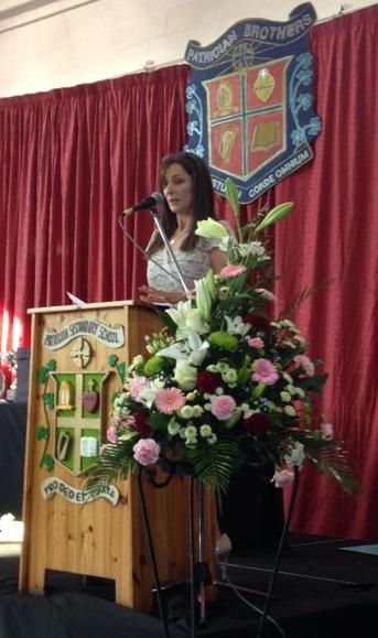 Year Head Ms Moran addresses the crowd