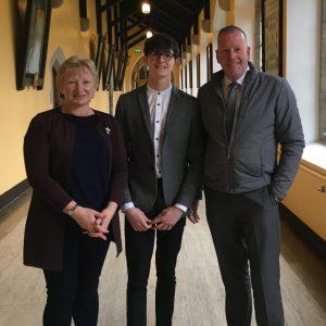 Colin Smyth with Principal Mr Pat Moloney and his Maths teacher, Ms Disney