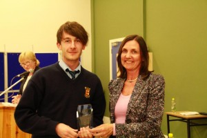 Graham Butler (6th Year) winner of the Senior Award for the Most Credits in 2015-2016.